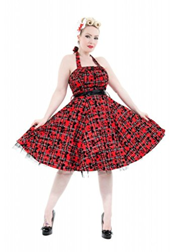 H & R London Plaid Tartan Stars and Bows Cocktail Dress Red Black