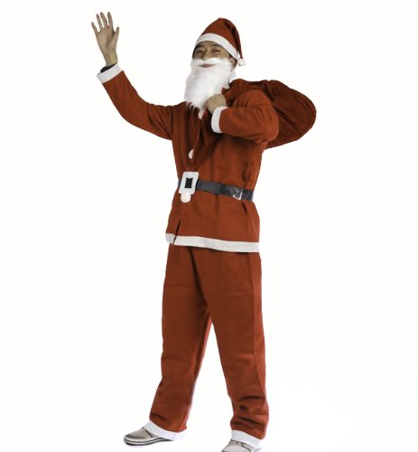 Santa Suit with Beard - Men's Santa Costume