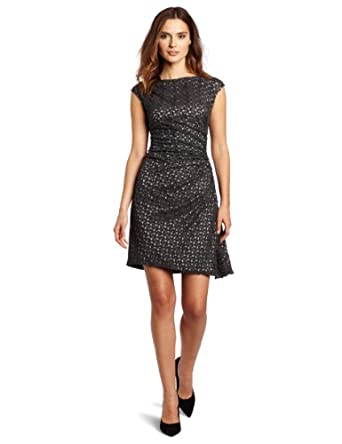 Suzi Chin Women's Lace Dress, Charcoal Grey, 2