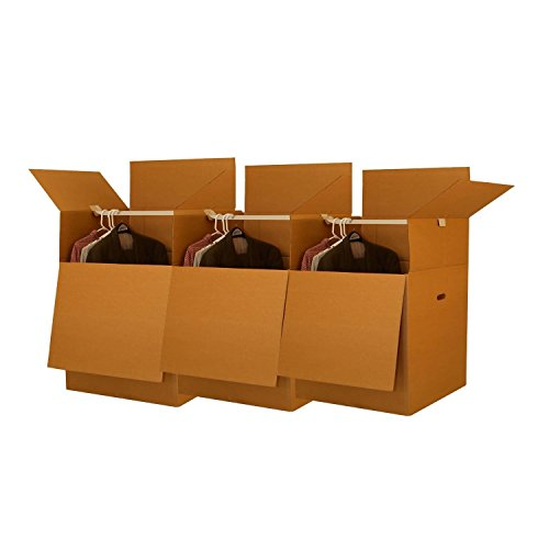 UBOXES Wardrobe Moving Boxes - Shorty Space Savers - (3 PK) 20x20x34