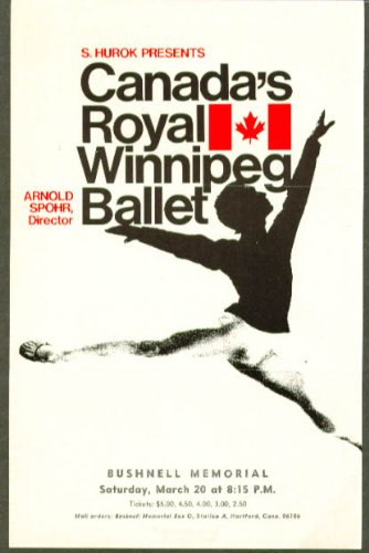Royal Winnipeg Ballet Flyer Bushnell Hartford Ct 1971