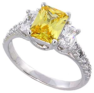"Sterling Silver Vintage Style Engagement Ring, w/ two 5 x 3 mm (.25 ct) & one Yellow Topaz-colored 8 x 6 (1.5 ct) Emerald Cut CZ Stones, 5/16"" (9mm) wide, size 6"