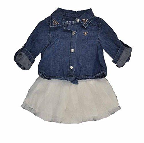 Guess Kids Girls Newborn Chambray Shirt And Mesh Tulle Set (0-9M)