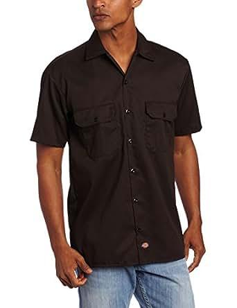 Dickies Men's Short Sleeve Work Shirt, Dark Brown, Small