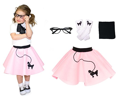 Hip Hop 50s Shop Toddler 4 Piece Poodle Skirt Costume Set Light Pink (Grease Inspired Dress compare prices)