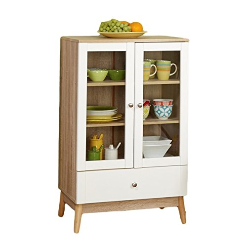 Simple Living Tillary White and Natural Two Door Cabinet for Kitchen or Bathroom