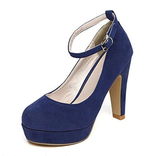 TOOGOO(R)Donna Scarpe con tacco alto a stiletto con plateau e listino fibbia di ecopelle scamosciata blu taglia 38