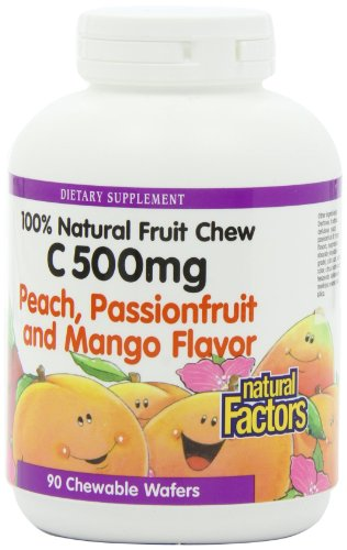 Natural Factors Vitamin C Peach, Passionfruit, Mango Chewables 500Mg Wafers, 90-Count
