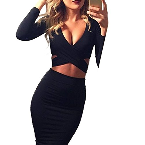 Memorose Womens Sexy Long Sleeve Cut-Out Bandage Bodycon Clubwear Midi Dress Black L