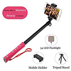 F-EYE Selfie Stick, Integrated New Design Bluetooth Selfie Stick With Inbuilt 2600mAh Power Bank, Tripod Stand, Adjustable Mobile Holder & 54 LED Flashlight For iPhone & Android Smartphones