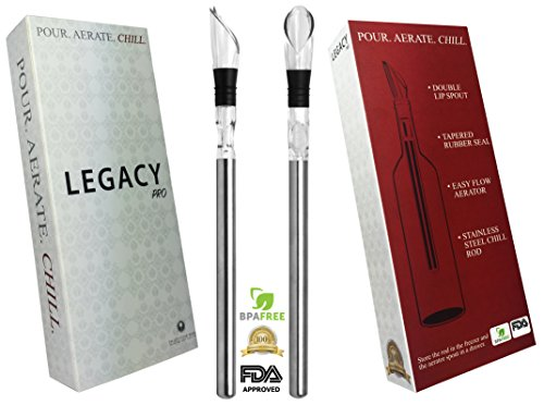 Legacy PRO Wine Accessory | 3-in-1 Stainless Steel Wine Chiller, Aerator, and Pourer to Hold Your Wine at
