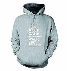 Keep Calm And Walk The Chihuahua Hooded Sweatshirt Hoody In Heather Grey
