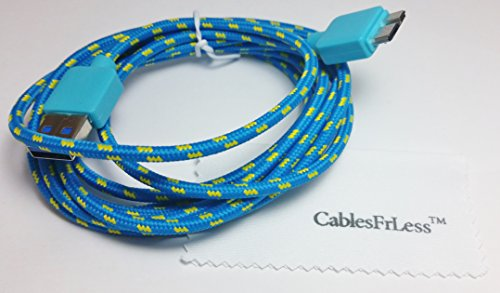 Cablesfrless 10Ft Micro Usb 3.0 Durable Braided Charging / Data Sync Cable Fits Most New Android Devices (Blue)