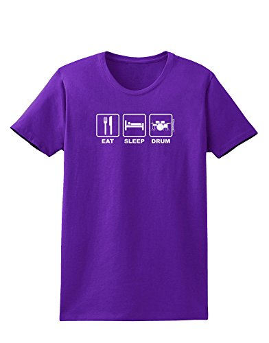 Tooloud Eat Sleep Drum Design Womens Dark T-Shirt - Purple - 3Xl