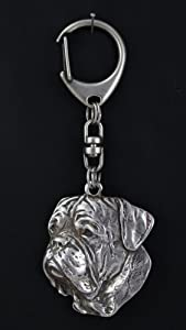 Dogue de Bordeaux, silver hallmark 925, keychain keyring key holder pendant silver Art Dog