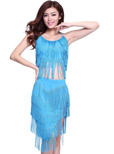 Feimei Women's Diamond Tassel Latin Dance Top And Skirt 2PCS/Set