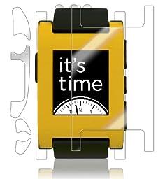 Pebble E-Paper Smartwatch Screen Protector + Full Body, Skinomi® TechSkin Full Coverage Skin + Screen Protector for Pebble E-Paper Smartwatch Front & Back Clear HD Film - with Lifetime Warranty