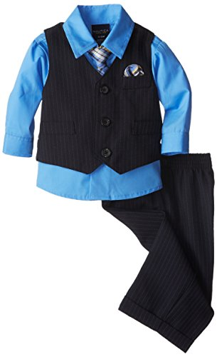 Nautica Babys Newborn Basic Striped Vest Set, Navy, 6-9 Months Blue Striped Suit