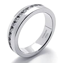 buy Bishilin Stainless Steel Fashion Women'S Rings Men'S Engagement Promise Wedding Cz Us 12,Silver