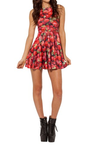 Women'S Pleated Knee-Length Strawberries Pattern Reversible Skater Dress