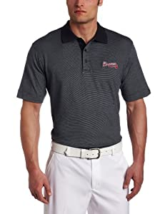 MLB Atlanta Braves Mens Drytec Resolute Polo Knit Short Sleeve Top by Cutter & Buck