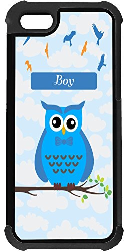 """Rikki Knighttm """"Boy"""" Name - Cute Blue Owl On Branch With Personalized Name 2-In-1 Black Hard Plastic Top With Black Silicone Rubber Protective Insert Case Cover For Apple Iphone 5 & 5S front-584166"""