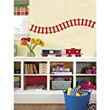 Curved Train Track Wall Decals Stickers Childrens Room Art, Dark Red