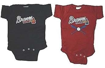 MLB Newborn Baby Creeper Home and Away Sets USA Printed (0-6 Months, Atlanta Braves)