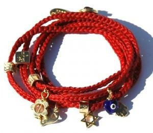 Wrap 24k Gold Plated Charms Red Bracelet for Protection