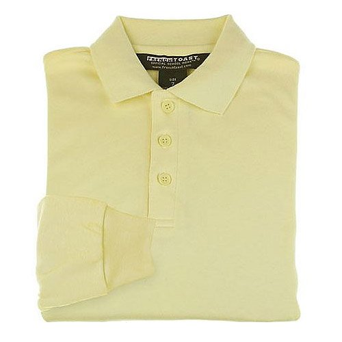 French Toast Boys 4-20/Husky School Uniform Long Sleeve Interlock Knit Polo Shirt (16 Husky, Yellow)