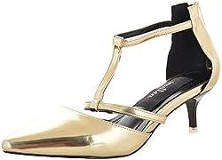 Smitten Womens Gold PU Court Shoes - 6 UK