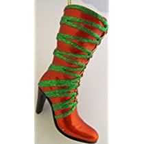 Two 4 inch High Heel Boot Ornaments- One is Lime Green with an Irish Look & One is Orange with Green Glittered