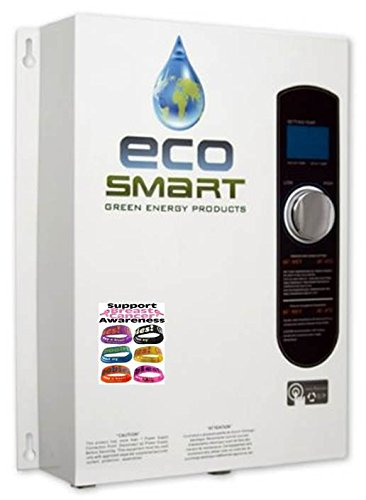 ECOSMART 18 Electric Tankless Water Heater for Radiant Heating + (1) Free I LOVE BOOBIES Bracelet to Support Breast Cancer Awareness (Floor Heat Boiler compare prices)
