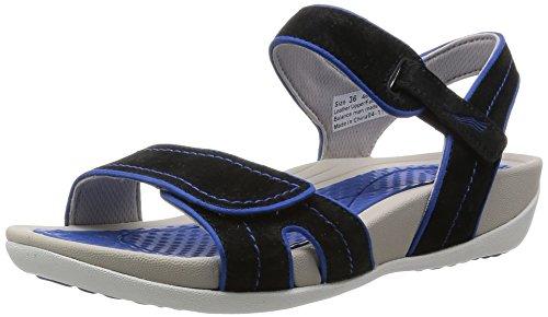 Dansko Women's Kami Black/Cobalt Suede Platform Sandal, 38 EU/7.5-8 M US