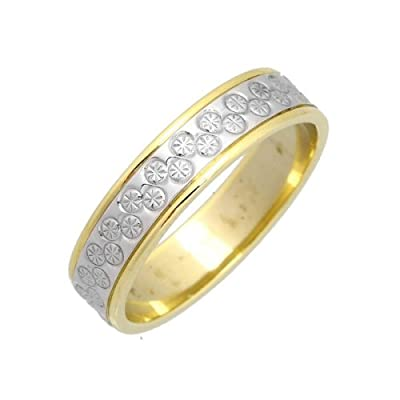 Theia 9ct White & Yellow Gold Heavy Flat Diamond Cut 5mm Wedding Ring