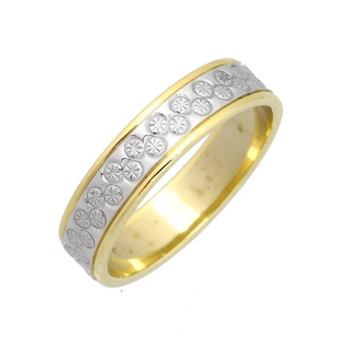 Wedding Ring, 9 Carat Yellow  &  White Gold with Small Diamond Set Detail, 5mm Band Width