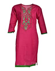 Global Women's Cotton Straight Kurta (GW54Pink44015, Pink, 44)