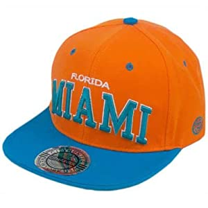 HAT CAP GORRA CHAPEU SNAP BACK MIAMI FLORIDA FLAT BILL ORANGE AQUA CITY HUNTER
