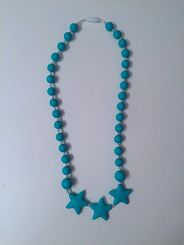SillyMunk TM Silicone Teething Nursing Necklace - Stars (Teal) - 1