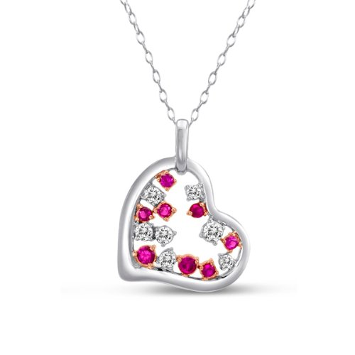 Sterling Silver Created Ruby and Created Pink Sapphire Heart Pendant Necklace with 18