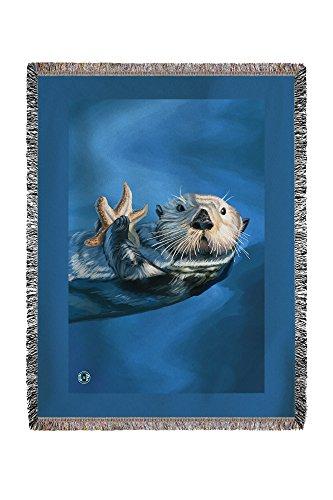Sea Otter (60x80 Woven Chenille Yarn Blanket)