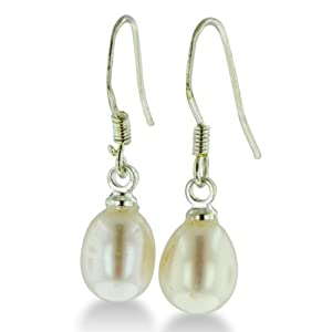 5-6mm Solitaire White Drop Freshwater Pearl Silver Plated Dangle Fishhook Earrings, 3/4 Inch Long