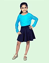 Snoby Girls black skirt and blue net top(SBYkk624)