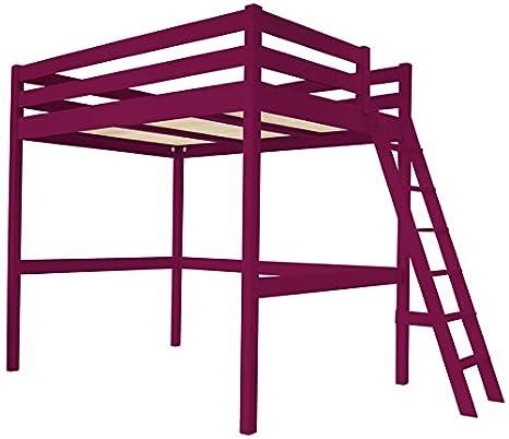 Cama Altillo Sylvia 120x200 cm con escalera - Ciruela