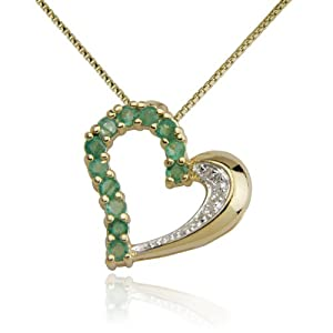 18k Yellow Gold Plated Emerald and Diamond Half- and -Half Heart Pendant Necklace
