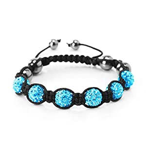 Shamballa Bracelet Swarovski Crystal Balls Aqua Shamballa Swarovski 6 Balls