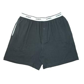 Hanes Mens Jersey Knit Cotton Exposed Waistband Sleep Shorts, Small, Black