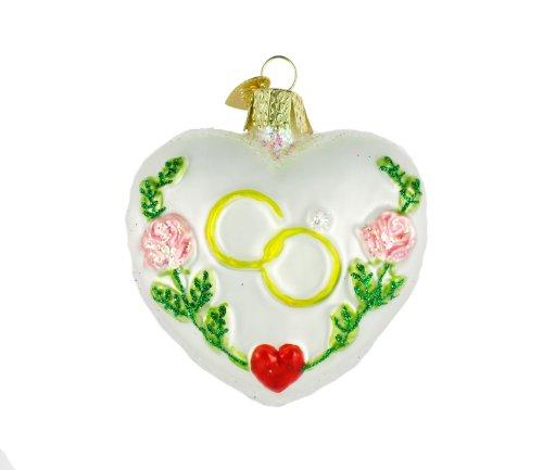 Old World Christmas Wedding Heart Glass Blown Ornament