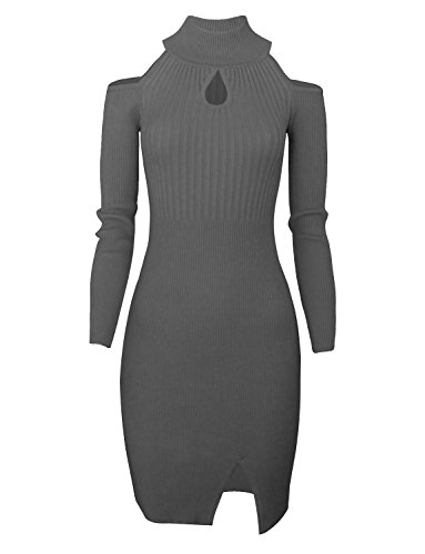 Tom's Ware Women Casual Slim Fit Knit Front Keyhole Sweater Bodycon Dress TWCWD076-GRAY-US L