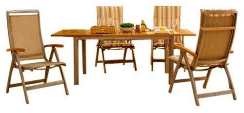 Sieger Set Chalet Alu-Holz bestehend aus: 4 x Klappsessel Chalet L 58 x B 67 x H 118 cm – 1 x Ausziehtisch Chalet  L 152/210 x B 92 x H 72 cm bestellen